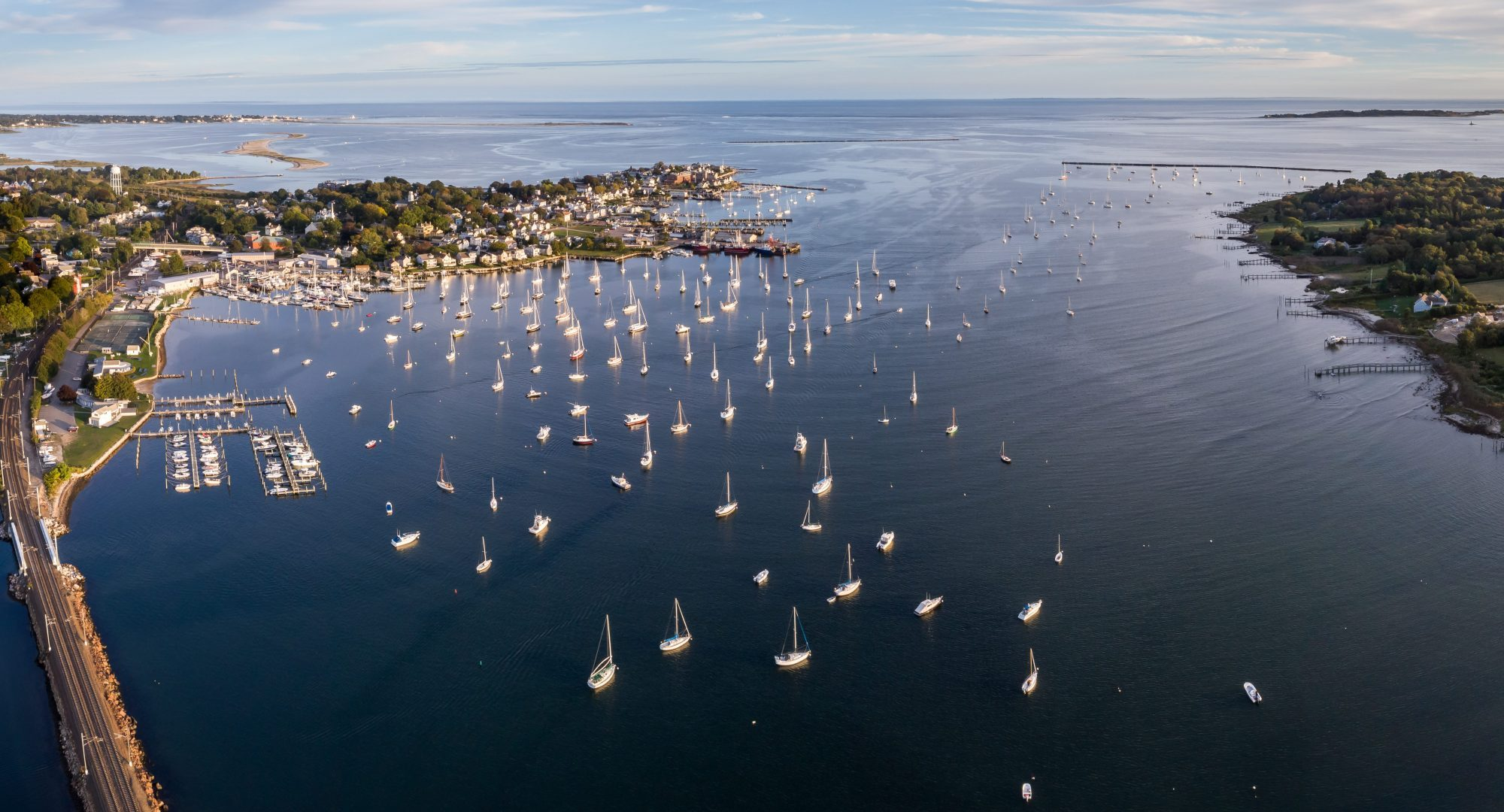 Stonington harbor aerial